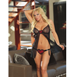 Babydoll with foil printed heart detail & thong